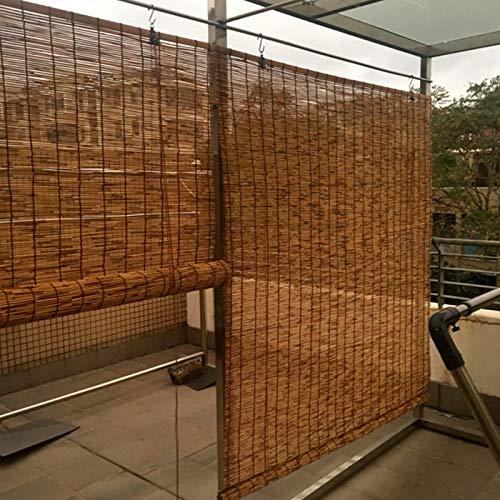 KDDEON Estores de Bambú Decorativo de Partición Retro,Persianas de Caña Carbonizada,Restaurante Patio Persianas Enrollables de Bambú,Rodillo-hasta Shade Romanas Cortinas de Paja (140x350cm/55x138in)