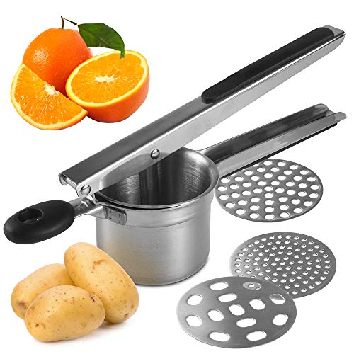 potato ricer potato masher ricer for mashed potatoes stainless steel premium quality with 3 interchangeable discs