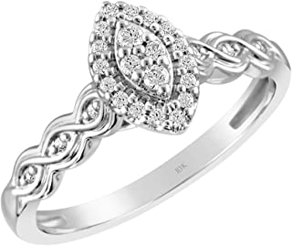 2220e3646 Brilliant Expressions 10K White Gold 1/6 Cttw Conflict Free Diamond  Marquise Halo Eternal Twist