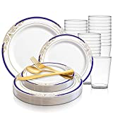Disposable Plastic Dinnerware Wedding Value Set for 60 Guests - Fancy Round White with Blue & Gold Dinner Plates, Dessert/Salad Plates, Gold Silverware Set & Cups For Birthday Party & Other Occasions