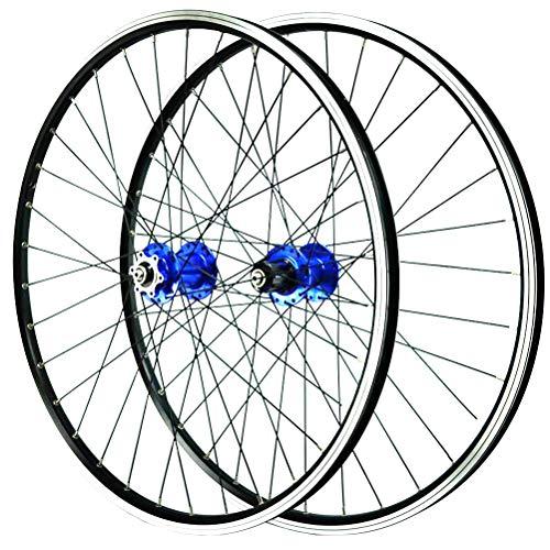 Mountainbike Laufradsatz 26inch Leichtmetall-Doppelwandfelge V-Brake Scheibenbremse Schnelle Veröffentlichung 7-11 Geschwindigkeit 32H (Color : Blue)