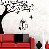 Un pájaro con llave y jaula colgando en la rama de un árbol Pegatinas de pared Vinilo Arte de la pared Murales Sala de estar Decoración para el hogar extraíble 55x85cm