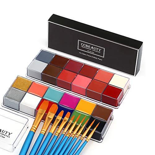 CCbeauty - Olio professionale per viso e corpo, per adulti, 24 colori, per Halloween e feste, con 10 pennelli blu