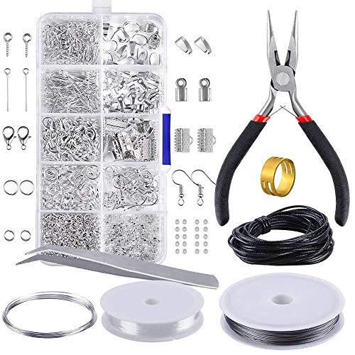 Kit de fabricación de joyas para encontrar joyas, kit de herramientas de inicio con alicates para hacer joyas, reparación de bricolaje suministros de manualidades