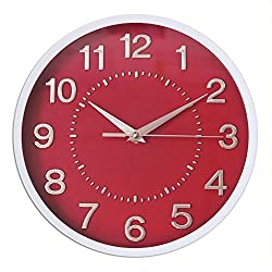 Decor Silent Wall Clocks 10 3D Numbers Red Dial Non-ticking Decorative Wall Clock Battery Operated Round Easy to Read For Home/School/Hotel/Office