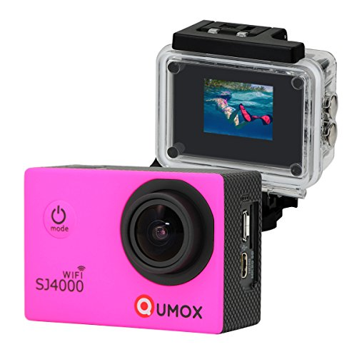 QUMOX WIFI SJ4000 Pink Action Sport Cam Camera Waterproof Full HD 1080p 720p Video Helmetcam con cassa impermeabile