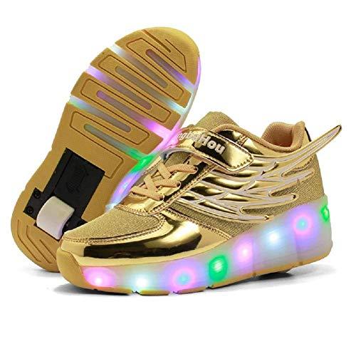JYMEI Unisex Schuhe Mit Rollen Kinder Skateboard Schuhe Rollschuh Schuhe LED Light Wheels Sneakers Outdoor Schuhe 7 Farbe Farbwechsel Rädern Gymnastik Sneaker,Yellow-37