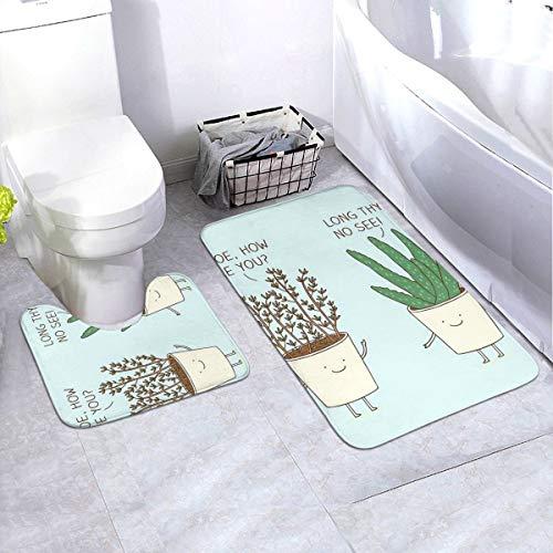 Generieke 2-delige zachte anti-slip badmatset, bloempot datering inclusief 90x60cm hoog absorberend toiletbril en 50x40cm microvezel zacht pluizig badtapijt, antislip mat wasbaar.