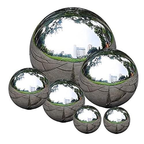Berrywho Estatuas 6pcs Decoraciones del jardín Bola de Espejos de Acero Inoxidable Bola de Mirada Espejo Reflectante Jardín Esfera Bolas flotantes de la charca del jardín Esculturas