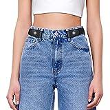 SANSTHS Buckle-Free Elastic Women Belt for Jeans Without Buckle, Comfortable Invisible Belt No Bulge No Hassle (Black, Plus Size)