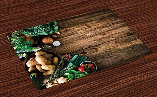 ABAKUHAUS Ernte Platzmatten, Gemüse auf Holztisch-gesunden Wahl-Biokost-Kräutern und Gewürzen saisonal, Waschbare Stoff Esszimmer Küche Tischdekorations Digitaldruck, Braun Grün