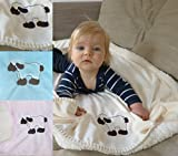 heimtexland super weiche Babydecke mit Fell in Creme Pastell mit süßer Stickerei Schaf HxB 70x100 cm Top Qualität - Kuscheldecke fusselt Nicht! Typ172