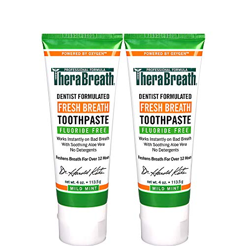 TheraBreath Fresh Breath Toothpaste fluoride Free Formula Mild Mint Flavor 4 Ounce Tube Pack of 2