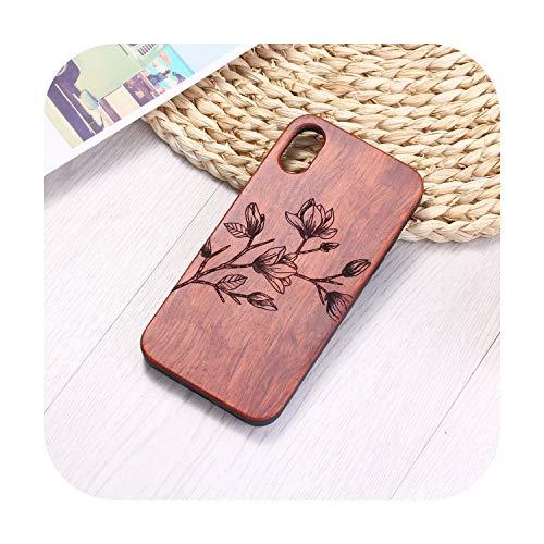 N/A Vintage Blume Gravur Natur Holz Handyhülle Coque Funda für iPhone 6 6S 6Plus 7 7Plus 8 8Plus Xr X Xs Max 11 Pro Max-Rose Holz für iPhone 11