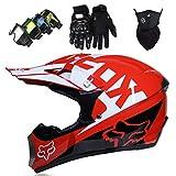 Casco de Moto Niños, MJH-02 Casco MTB de Integrales Adultos Conjunto de Casco de Motocross con Gafas/Guantes/Máscara para Downhill Enduro Dirt Bike Quad ATV BMX, con Diseño Fox, Rojo