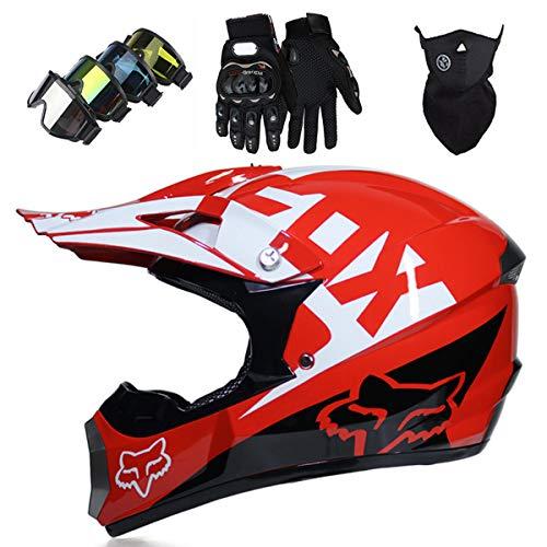KIVEM Casco Motocross, Niños Adult DH Motocicleta Cross Helmet Set (Gafas Guantes Máscara) para MTB ATV Scooter Downhill Off Road - Dot/ECE - con Diseño de Fox - Personalidad Cool - Rojo,M