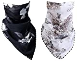 Keleily Masque Visage Foulard Femme 2 Pièces Bandana Foulard Foulard Respirant Été Femme Masque Solaire pour Poussière, Protection Solaire, Extérieur, Vélo, Pêche, Blanc, Noir
