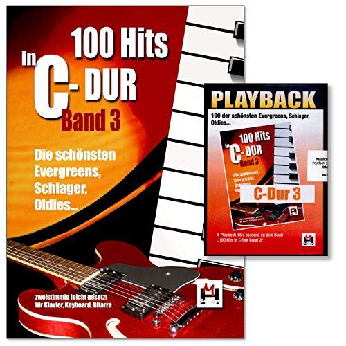 100 Hits in C-Dur Band 3 - Die schönsten Evergreens, Schlager, Oldies - leicht gesetzt - für Gesang, Klavier/Keyboard und Gitarre - mit Playback 5xCD