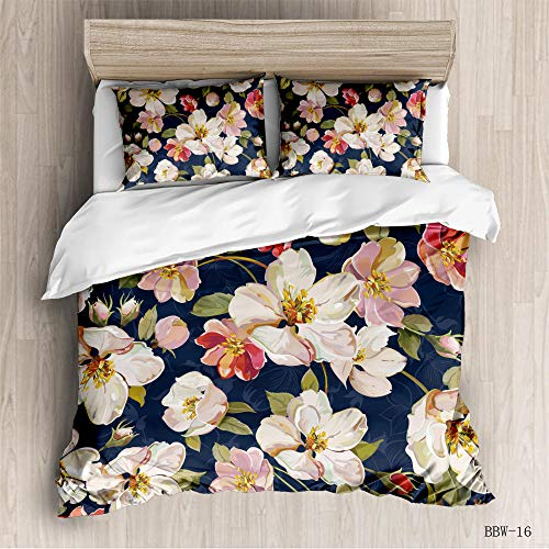 HHCYY Beautiful magnolia flowerDuvet Cover Set 3D Printed Design Bedding Set Quilt Covers Reversible Boy Girl Single Double King Bed