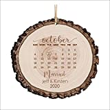 Just Married Ornament, Personalized Christmas Wood Log Ornament, First Christmas Married Calendar, Marriage Keepsake, Newly Married Gift For Couple