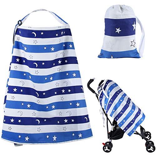 Cubierta de lactancia del bebé Suave ropa de lactancia de algodón Lactancia manta mantón transpirable Delantal Cubrir con toalla de bebé a juego gratis(azul)