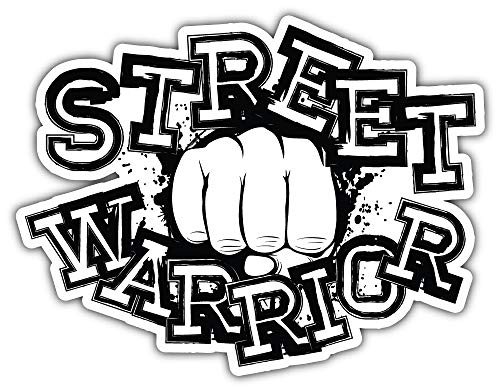 Street Warrior Fights Bumper Sticker Vinyl Art Decal for Car Truck Van Wall Window (24 X 20 cm)