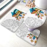 Juego de alfombras de baño Página para colorear Chameleon Lizard Color incoloro Juegos de alfombras de baño antideslizantes, cubierta de almohadilla de baño Alfombrilla de baño y tapa de inodoro