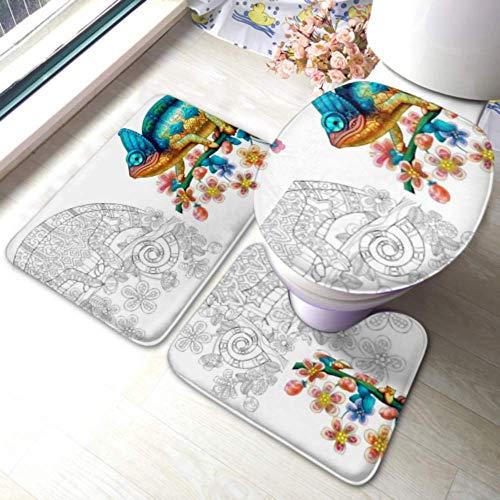 XHYYY WC-Teppich-Set Malvorlagen Chamäleon-Eidechse Farblose Farbe rutschfeste Badezimmerteppich-Matten-Sets , WC-Pad-Abdeckung Badematte und WC-Deckelabdeckung