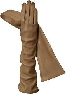 Long Italian Leather Gloves. Lined in Silk. 8
