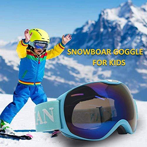 Riloer Gafas de esquí al aire libre, gafas de snowboard para niños y niñas, protección UV400, cortavientos, anti-UV y anti-nieve (rojo)-azul