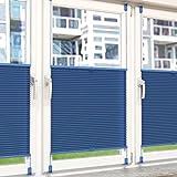 Plissee Rollo Sonnen- und Sichtschutz Klemmfix, ohne Bohren Breite 120 cm Höhe 130 cm in Blau