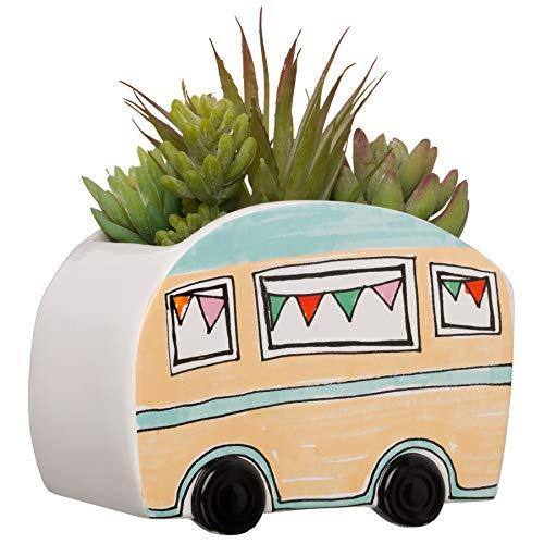 Artificial Succulents In Ceramic Camper Trailer Planter