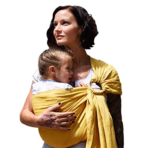 Nalakai Luxury Ring Sling Baby Carrier – Extra-Soft Bamboo and Linen Fabric - Lightweight wrap - for Newborns, Infants and Toddlers - Perfect Baby Shower Gift - Nursing Cover (Sol Yellow)