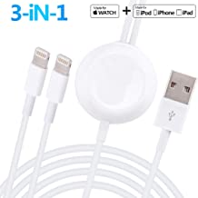 Compatible with Apple Watch iWatch Charger, 3 in 1 Wireless Fast Charger with 3.9ft/1.2m Charging Cable for Apple Watch Series 4/3/2/1,iPhoneXR/XS/XS Max/X/8/8Plus/7/7Plus/6/6Plus