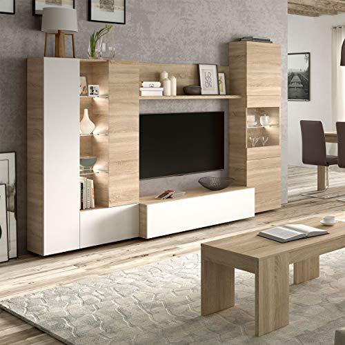 Parete attrezzata soggiorno moderna mobile TV sala pranzo salotto ROVERE 260 X 30 X 185 cm 016642F
