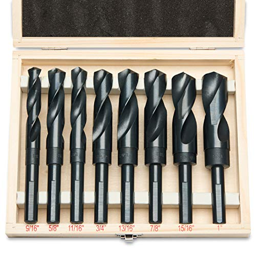Hiltex 10005 HSS Silver and Deming Industrial Drill Bit Set (8 Pieces), 1/2""