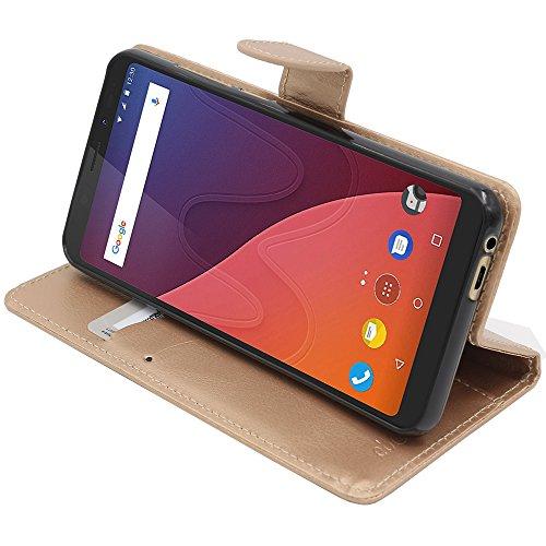 ebestStar - kompatibel mit Wiko View Hülle View 16GB 32GB Kunstleder Wallet Hülle Handyhülle [PU Leder], Kartenfächern, Standfunktion, Gold [Phone: 151.5 x 73.1 x 8.7mm, 5.7'']