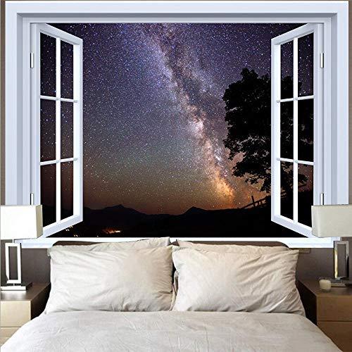 KHKJ Tapiz de Luna Natural Tela de Pared Hippie Tapiz Colgante de Pared Playa Bosque Girasol Cielo Estrellado Tapices de Ventana A13 200x150cm