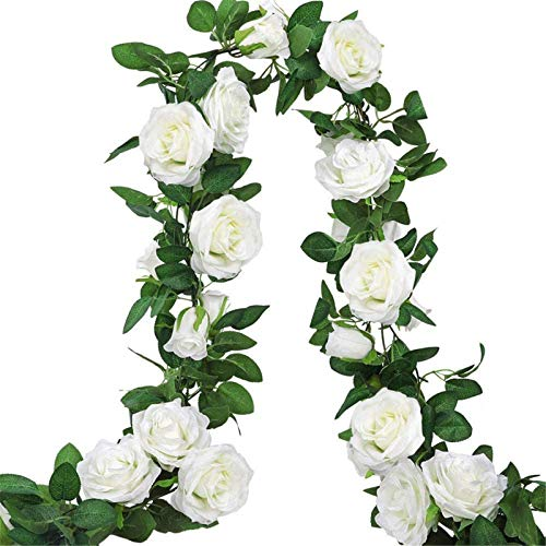 AGEOMET 3pcs 19.5ft Artificial Rose Vine Fake Silk Rose Hanging Vine Flowers Garland for Outdoor Wedding Arch Garden Wall Decor (White)