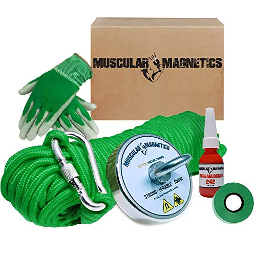 625lb Fishing Magnet Bundle Pack - Includes 6mm 100ft High Strength Nylon Rope with Carabiner, Non-Slip Rubber Gloves, Threadlocker & Super Strong 625lb (283kg) Pulling Force Rare-Earth Magnet