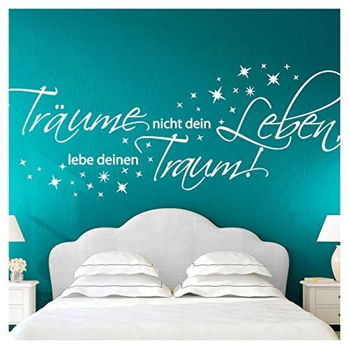 Wandora Wandtattoo Zitat Träume Nicht Dein Leben I weiß (BxH) 150 x 58 cm I Wohnzimmer Schlafzimmer Sticker Aufkleber Wandaufkleber Wandsticker G026