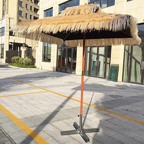 YLLN Ombrellone in Legno con Patio   Quadrato 1,8x1,8m   Simulazione Ombrello di Paglia Giardino/Balcone/Terrazza/Cortile   Altezza 2,4 m   - Nessuna Base, Naturale