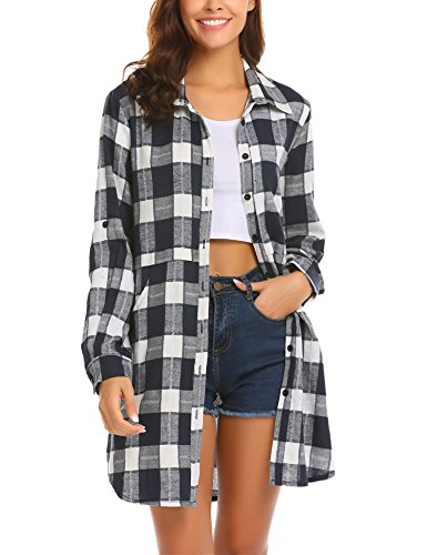 HOTOUCH Women's Long Sleeve Flannel Plaid Shirt(Navy Blue L)