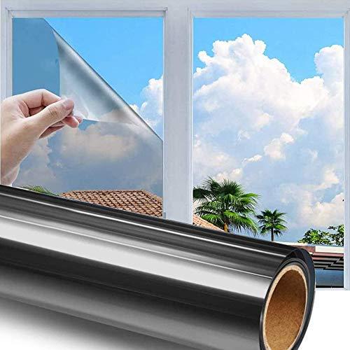 h Sonnenschutzfolie Selbstklebend Fenster Fensterfolie Verdunkelungsfolie Wärmeisolierung 99% Anti-UV Blickdichte Sichtschutz Folie für Fenster Haus Büro Geschäft (Silber, 40 x 200 cm)