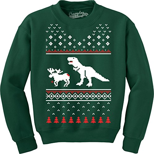 Crazy Dog Tshirts - T-Rex Attacking Moose Christmas Ugly Sweater Funny Holiday Hilarious Adult Humor (Forest Green) - 4XL - Herren - 4XL