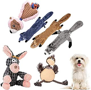 6 Pack Dog Squeaky Toys Three no Stuffing Toy and Three Plush Pet Toys with Stuffing for Small Medium Large