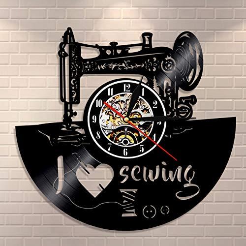 YINU Tailor Shop Reloj de Pared Acolchado Me Encanta Coser Decoración del hogar Reloj de Pared Máquina de Coser Reloj de Vinilo Reloj de Regalo de costurera