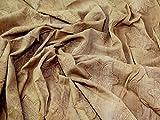bestickt Leaf-Print Crinkle Baumwolle Kleid Stoff Sand