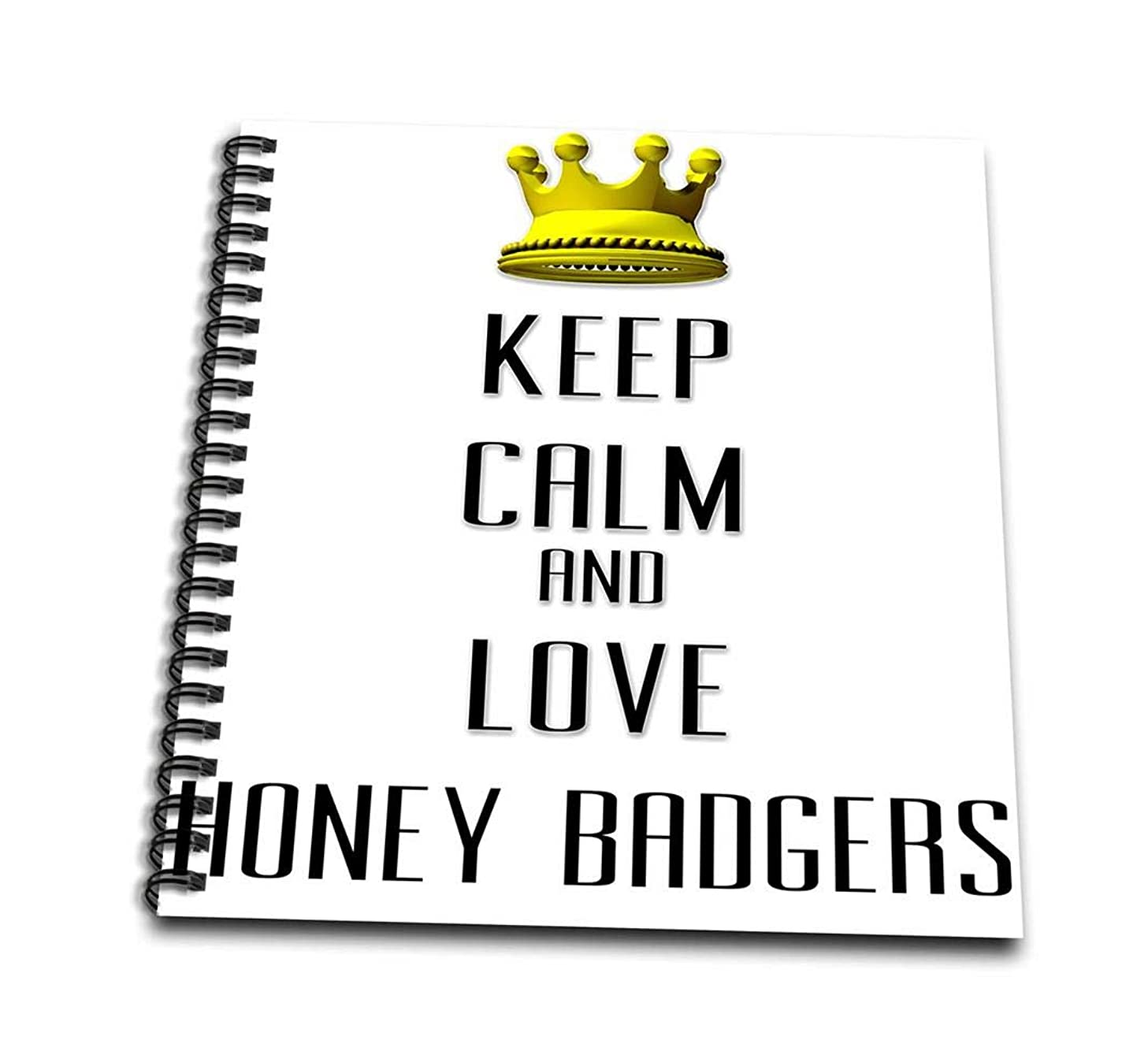 3dRose db_121122_1 Gold Crown Keep Calm & Love Honey Badgers Drawing Book, 8 by 8