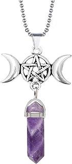 Triple Moon Goddess Charm Quartz Hexagonal Pointed Pendant Necklace Gemstone Reiki Chakra Pentagram Divination Energy Heal...